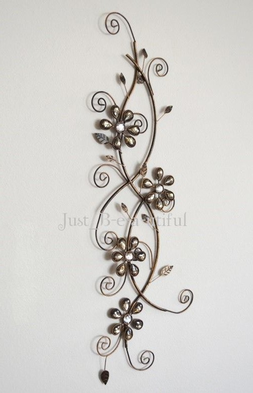 Jewelled Wall Decoration : Jeweled vine floral wall art scroll metal jewel