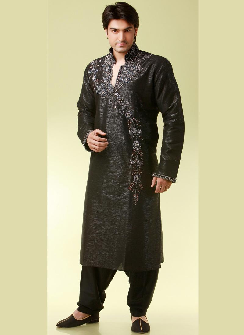 Indian wedding essentials black pathani style kurta for Wedding dresses for men