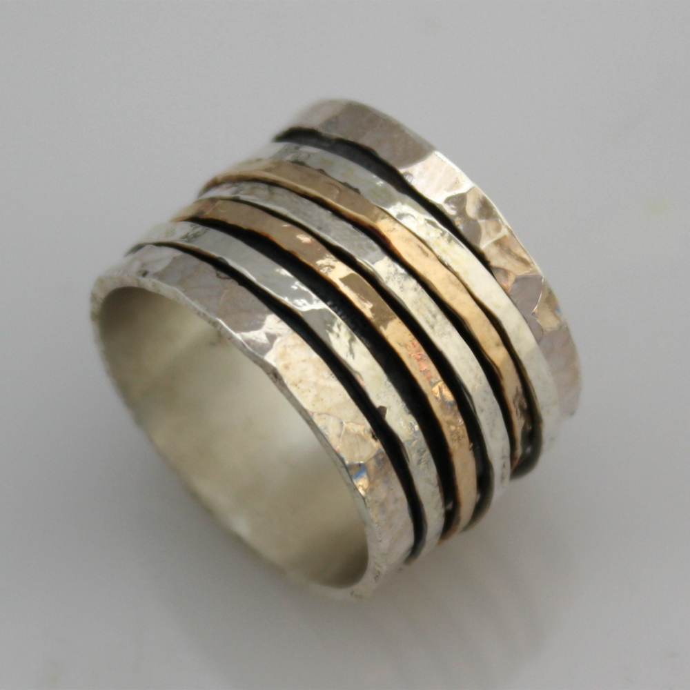 925 sterling silver gold spinner ring size 6 7 8 9 ebay