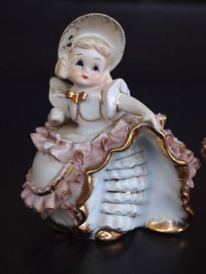 Adri08 Vintage Lefton Bloomer Girl China Figurines Chic