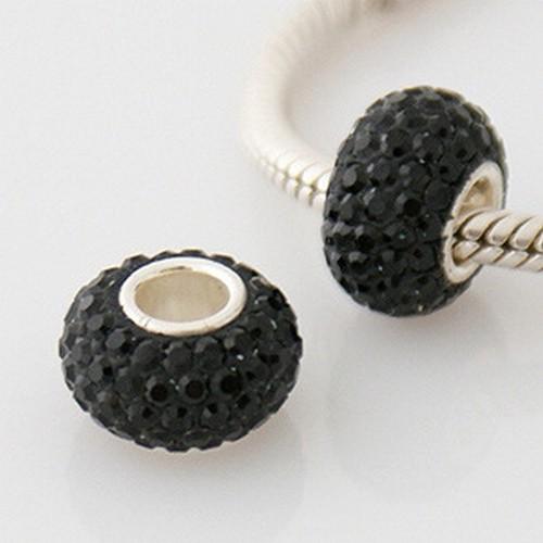 SWAROVSKI CRYSTAL pavé 925 sterling silver single core European charm bead