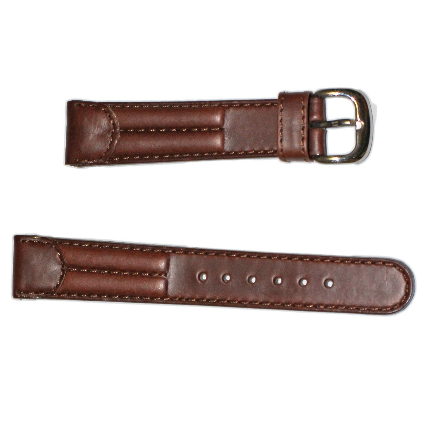 Brown Genuine Padded 18mm Watch Leather Strap Band