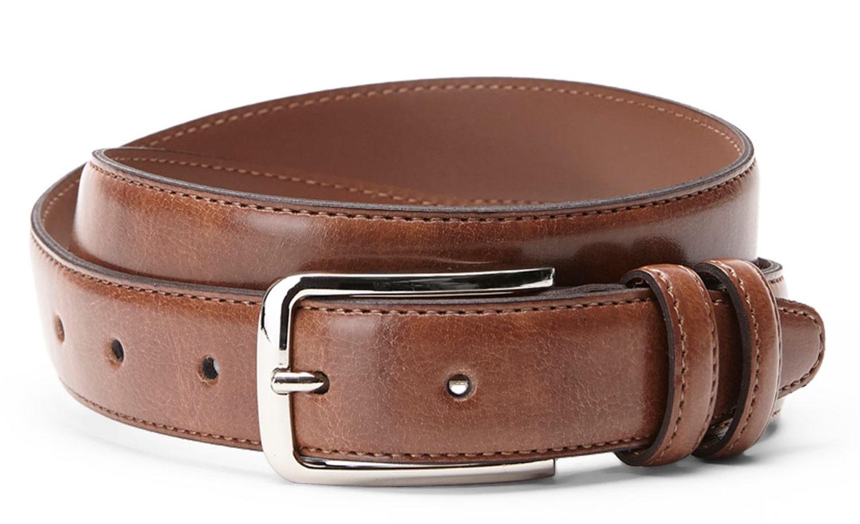 Bosca B03740 11 Men's Brown Leather Belt Metal Buc