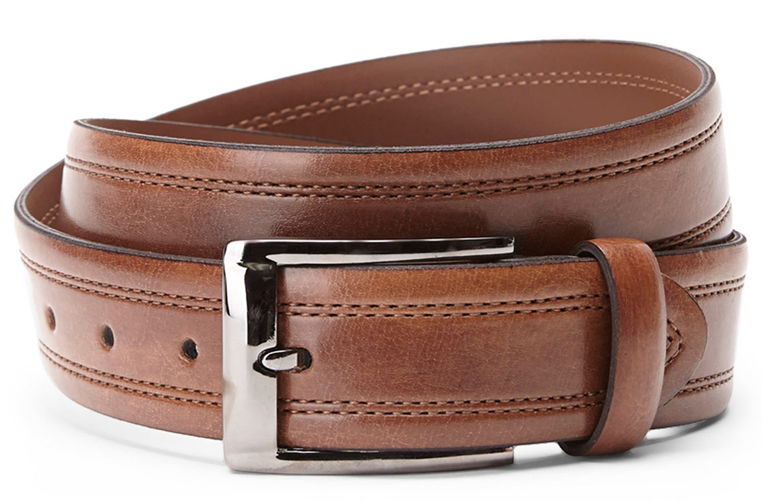 Bosca B03744 11 Men's Brown Leather Belt Metal Buc