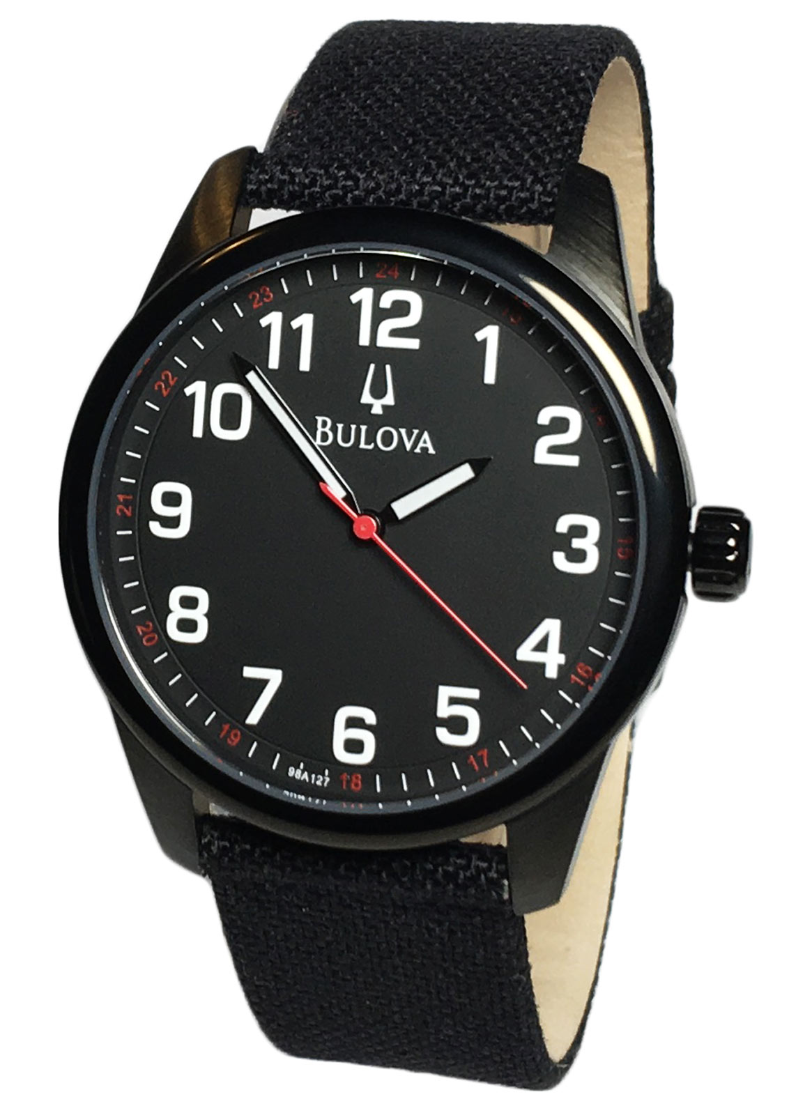 Bulova 98A127 Mens Analog Round Watch Nylon/Leathe