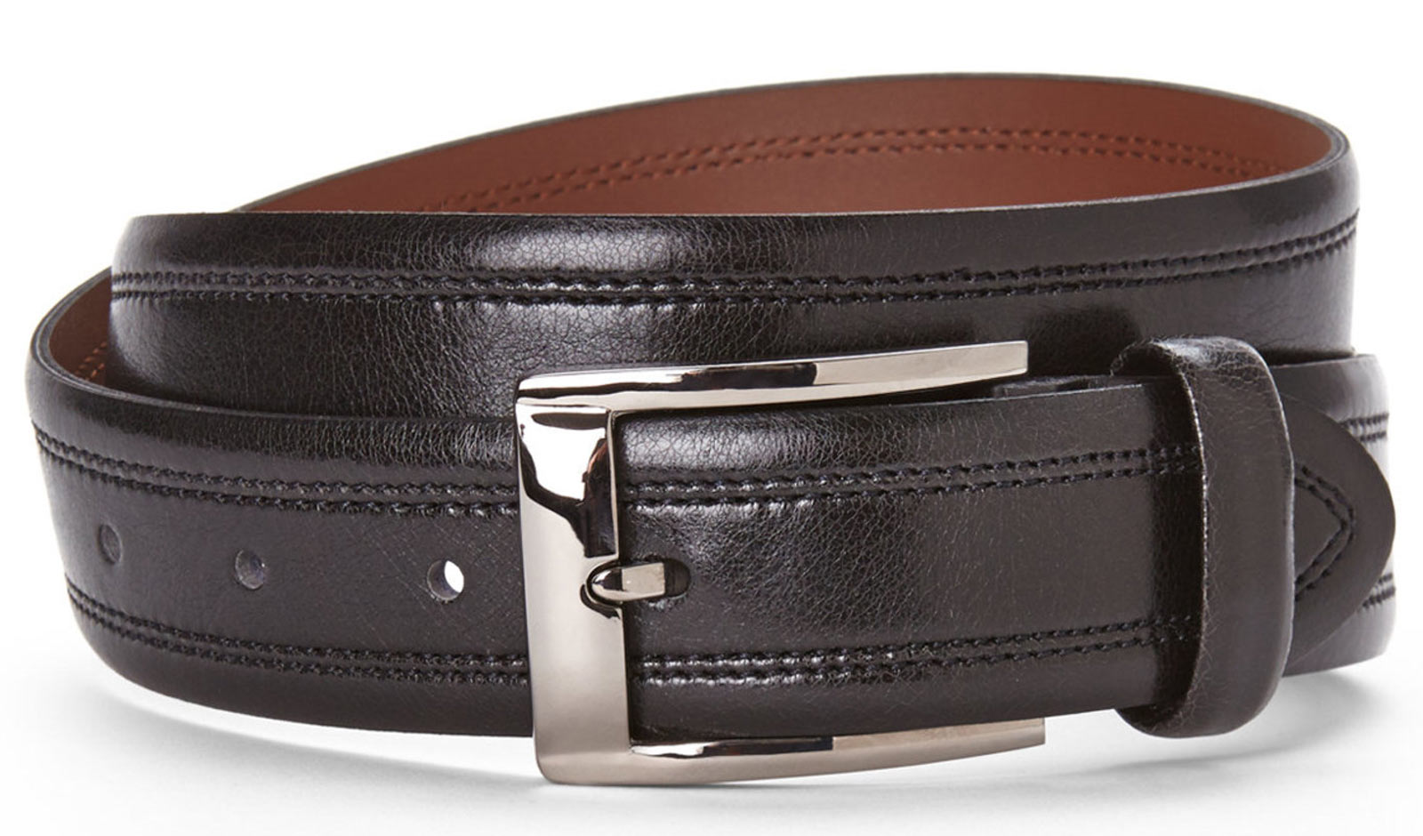 Bosca B03744 04 Men's Black Leather Belt Gumetal B