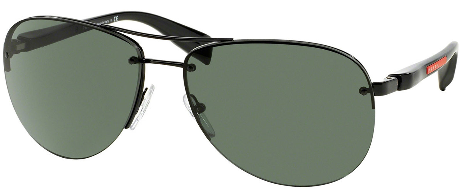 New PRADA PS56MS 7AX3O1 Black Metal Frame Grey Green Lens Sunglasses ...