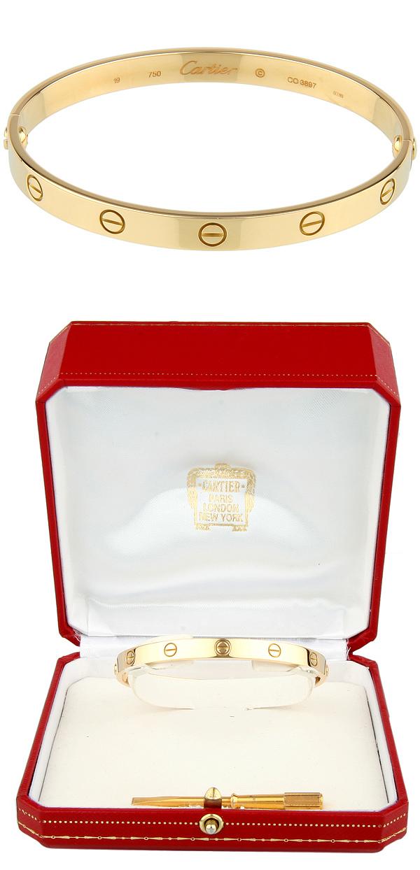 estate cartier 18k yellow gold love bracelet euro size 19