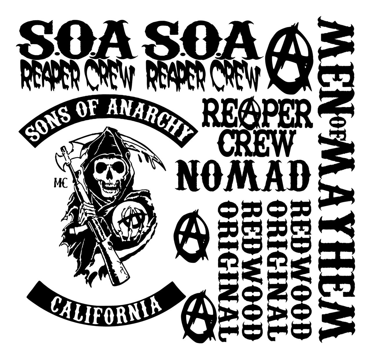 SONS OF ANARCHY VINYL DECALS STICKERS SOA SAMCRO R