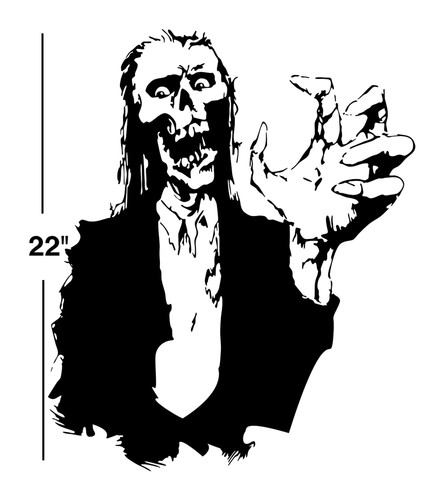 ZOMBIE VINYL STICKER DECAL wall art car decor goth day of the dead ...
