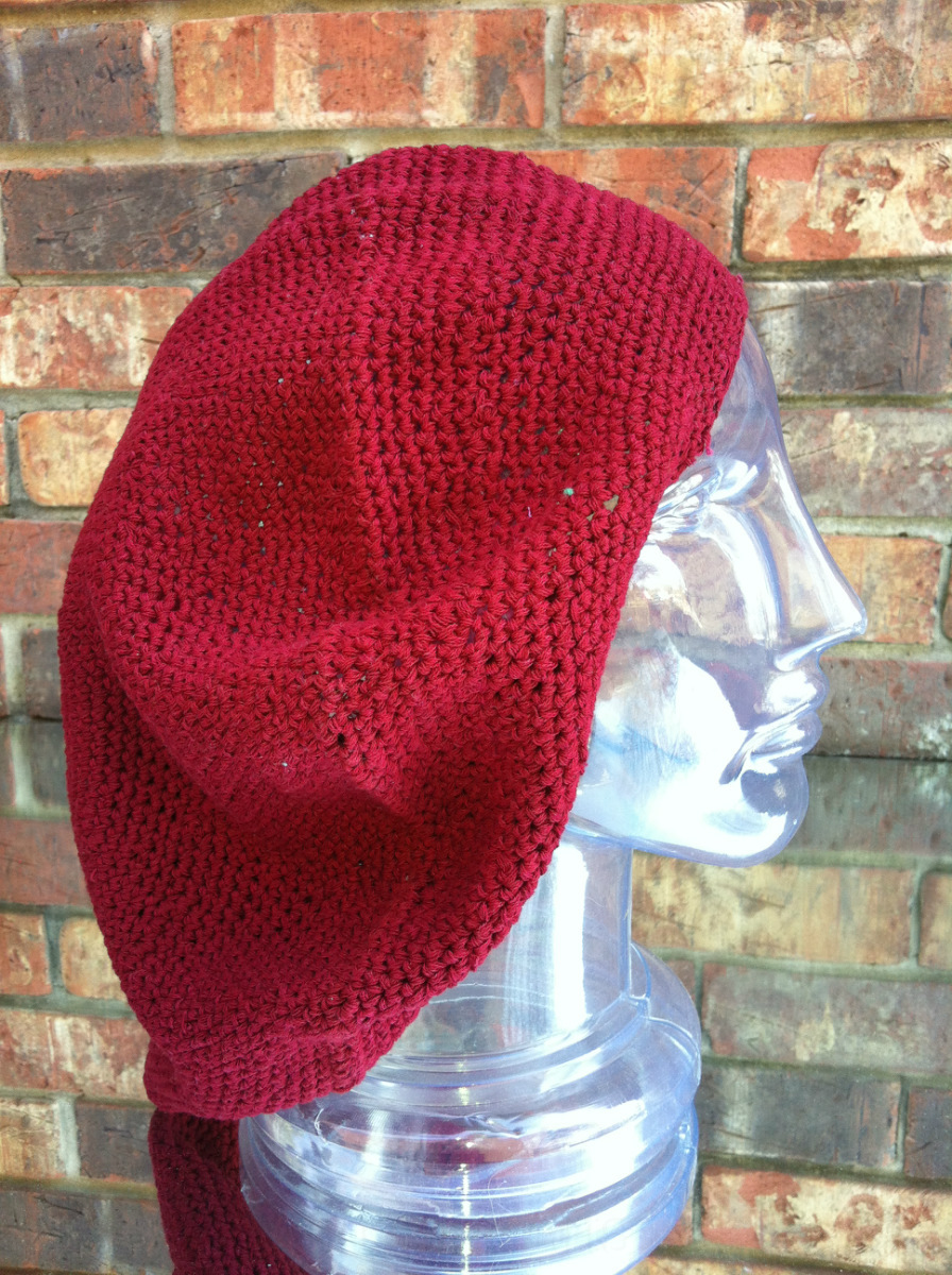 7e1450d2b8cc6 Inspirit Arts EXTRA LARGE TAM BERET HAT Solid Burgundy Red Hand Made ...