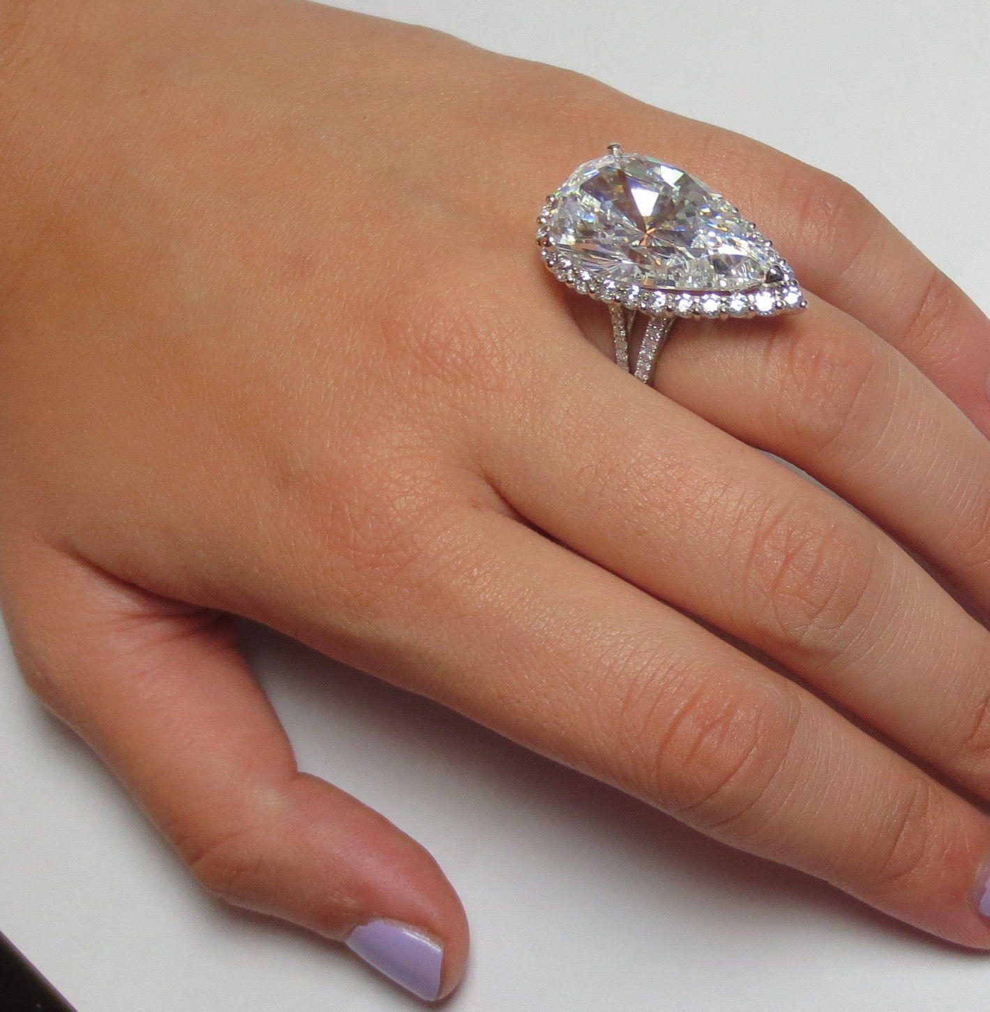 amazing huge 15 carats pear cut halo diamond engagement ring 14k solid