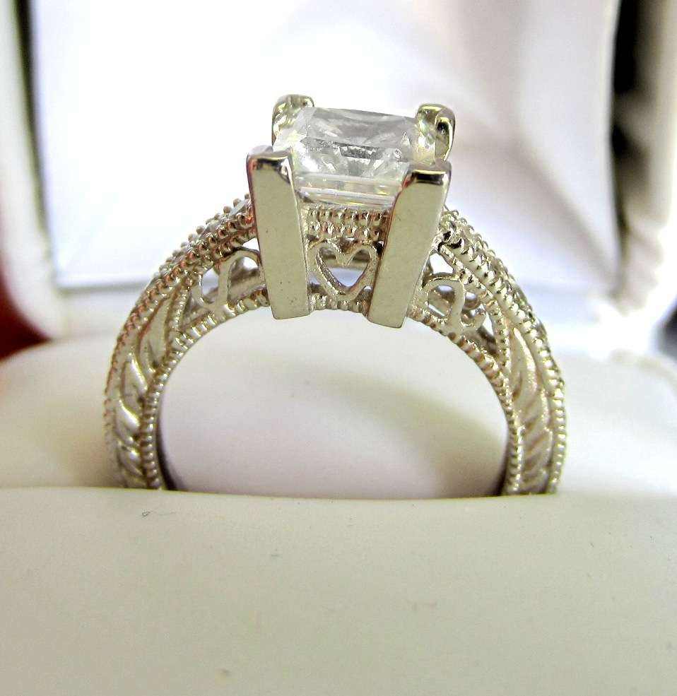 ... 2.06 CT PRINCESS CUT MAN MADE DIAMOND ENGAGEMENT R ...