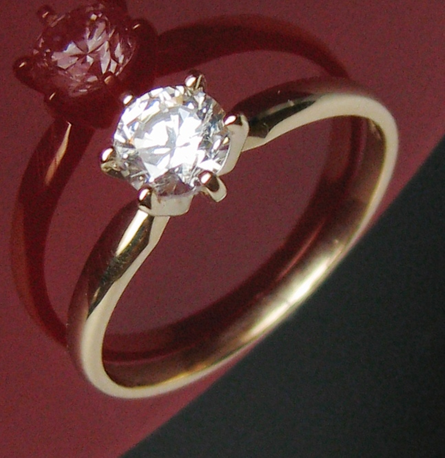 050c 14K SOLID YELLOW GOLD JEWELRY MAN MADE STONE ENGAGEMENT