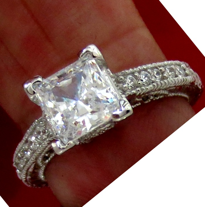 2 06 CT PRINCESS CUT MAN MADE DIAMOND ENGAGEMENT RING 14K SOLID white or yell