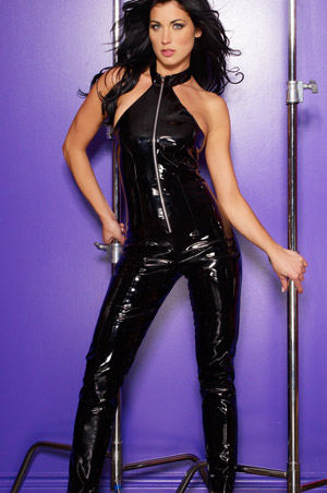 Sexy Vinyl Halter Style Catsuit w Snap Collar & Front Zipper Clubwear