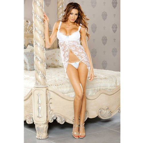 Gorgeous Ruffle Accent Lace Bridal Babydoll W Demi Cups & G string