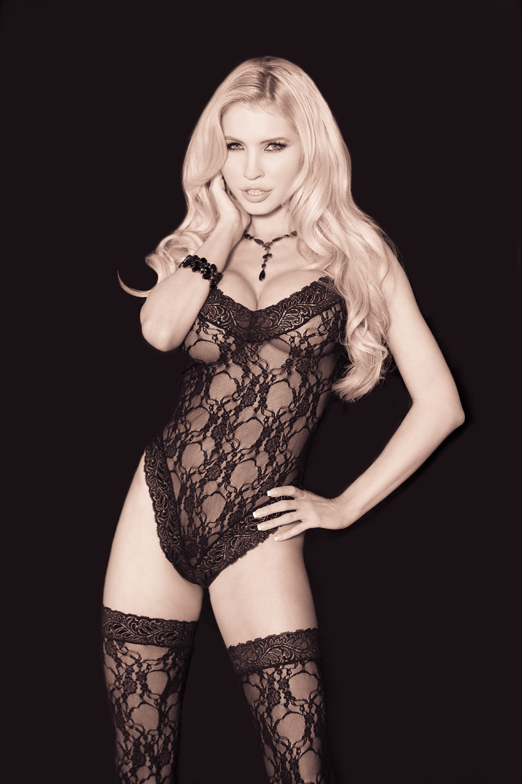 Gorgeous Lace Teddy & Matching Thigh Hi Stockings Black