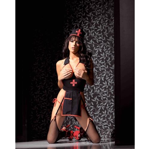 Naughty Nighttime Nurse Bedroom 4pc Lingerie Costume Set