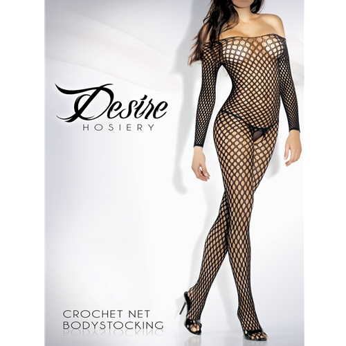 Sexy Long Sleeve Crochet Net Bodystocking Black One Size or Queen