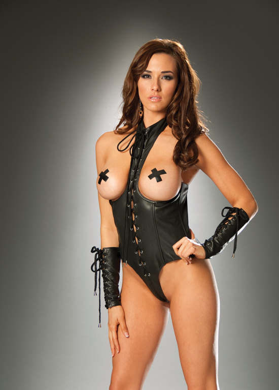 SEXY LEATHER CUPLESS LACE UP UNDERWIRE TEDDY LINGERIE BLACK S M L XL