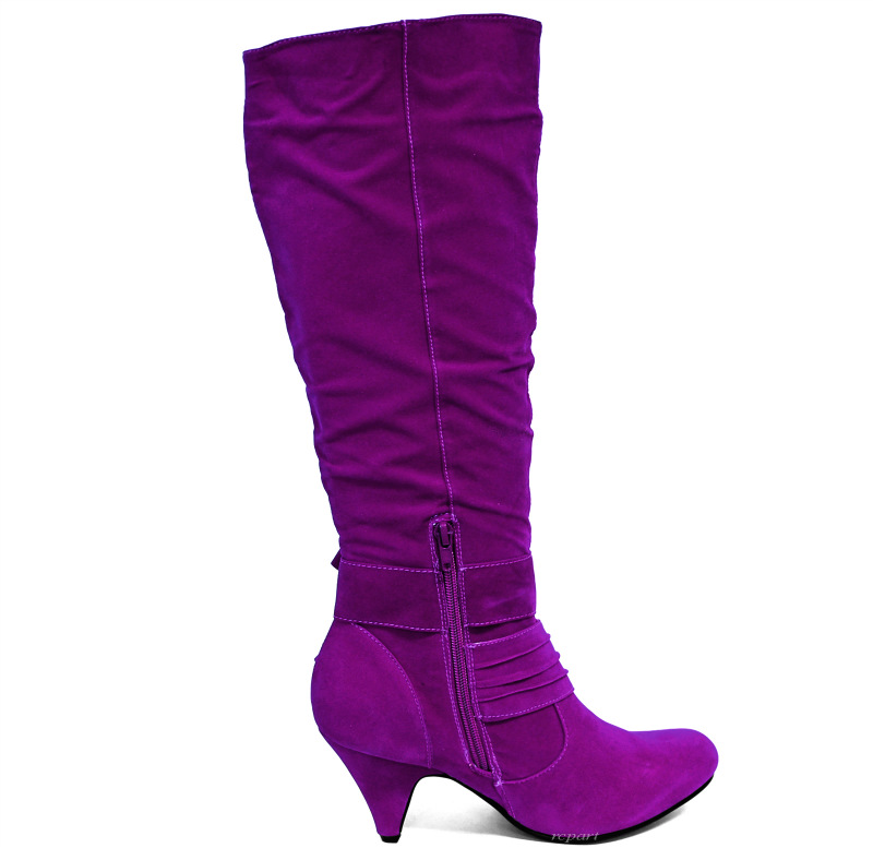 purple shoes high shaft knee high boot high heel suede