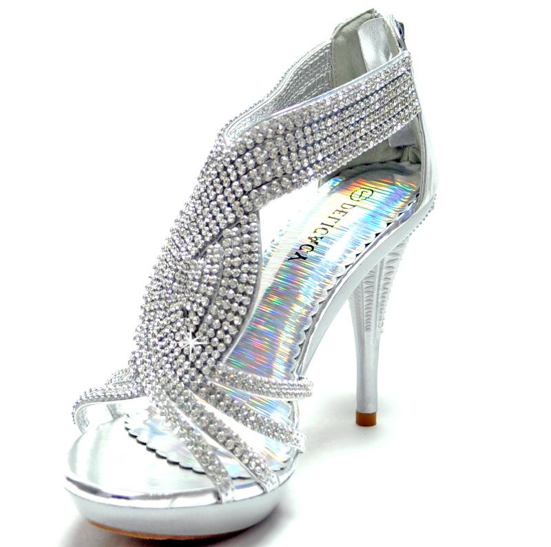 silver shoes rhinestones stilettos back zipper prom