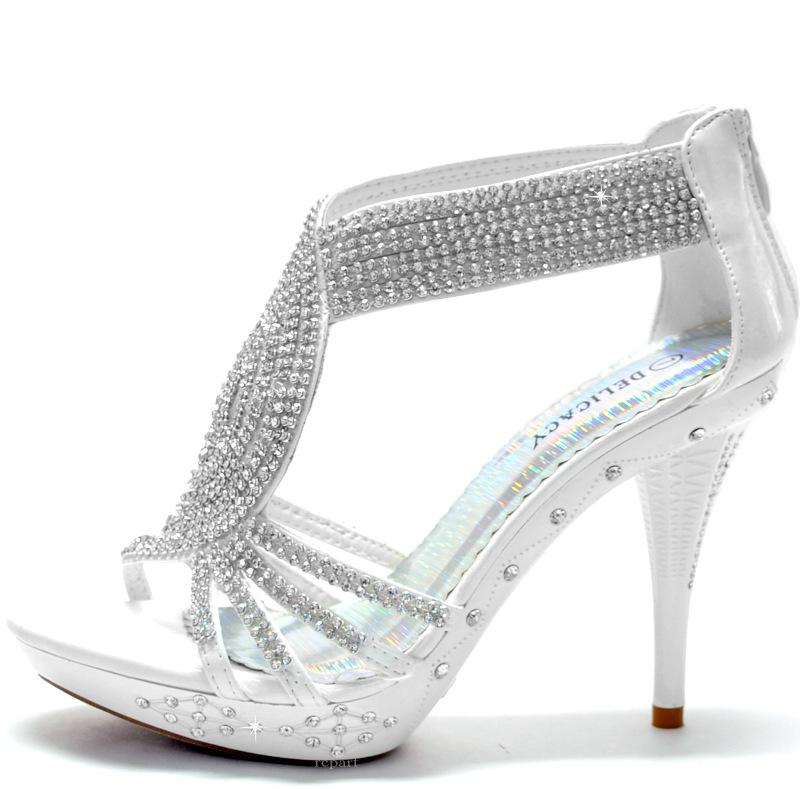 white shoes rhinestones stilettos back zipper prom