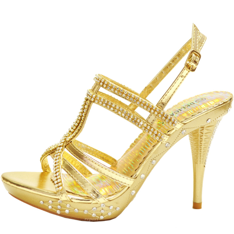 gold shoes rhinestones stilettos buckle prom wedding