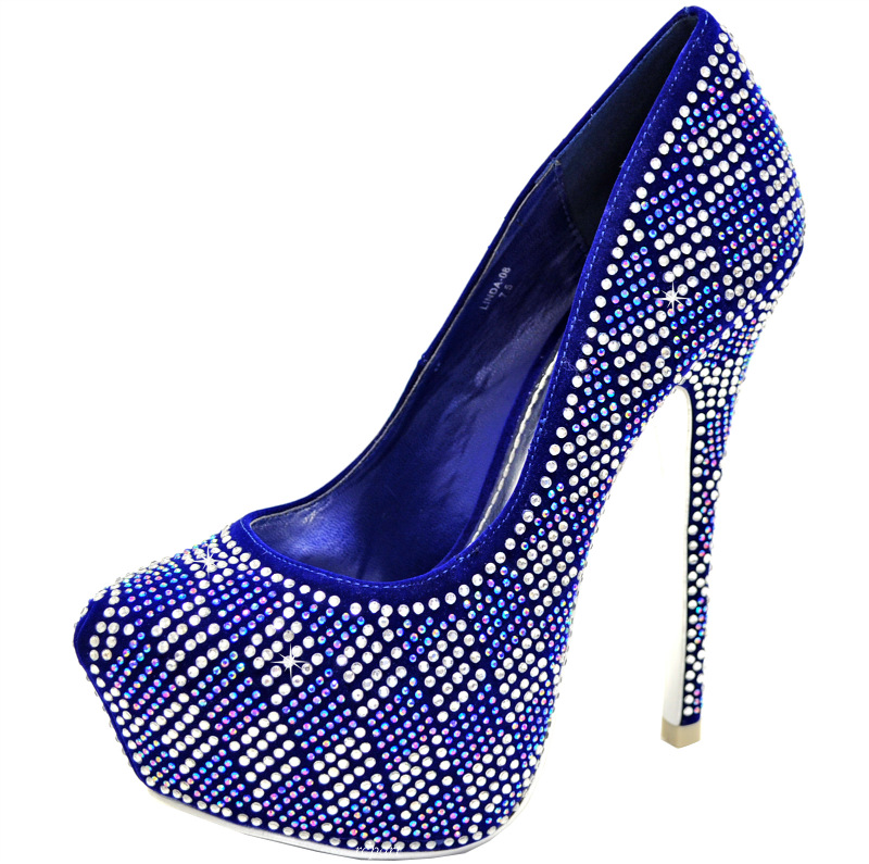 royal blue shoes evening stilettos blink rhinestones prom