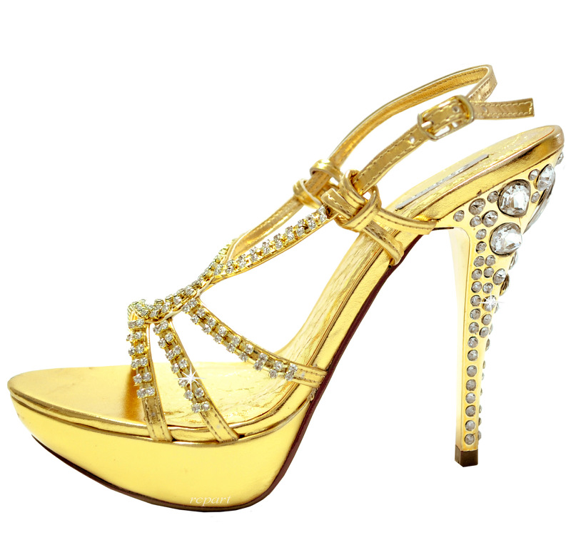 gold shoes stilettos rhinestones sandals evening wedding