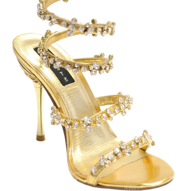 gold shoes evening sandals rhinestones details prom