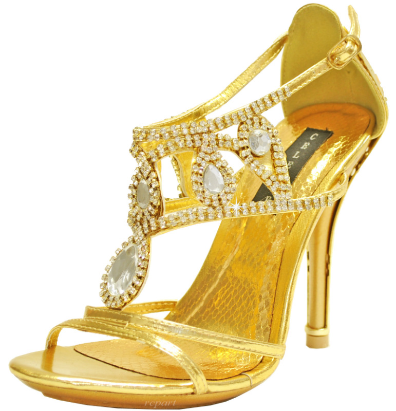 gold shoes evening stilettos rhinestones wedding