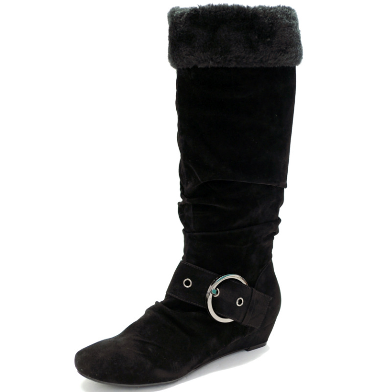 black faux fur wedge boots thalia 024 black mezza corp
