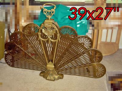 Vintage Brass Victorian FIREPLACE SCREEN Fan Ffortunate