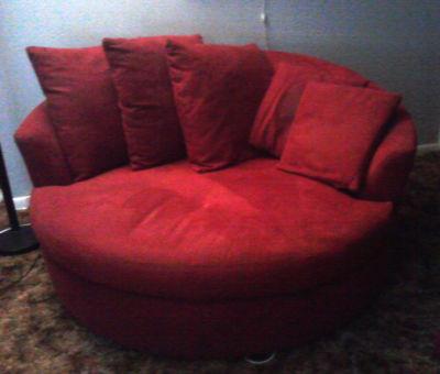 Djrodneykc Store Red Velvet Wrap Around Cuddle Chair