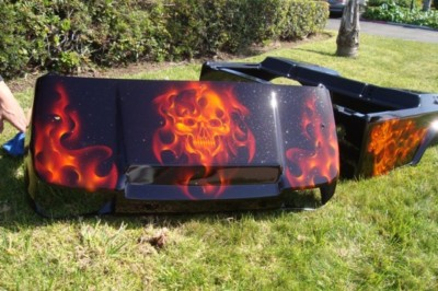 Club Car Ds Golf Cart Custom Flames Skull Paint Front Rear Body