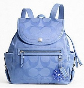 ... Signature Periwinkle Blue Patent Leather Daisy Backpack Purse F16548