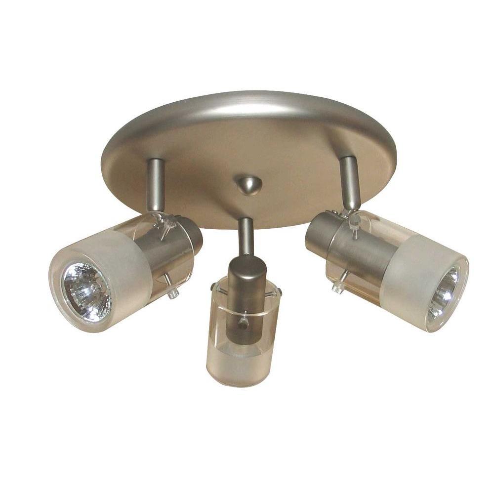 Hampton Bay EC337BA 3 Light Brushed Steel Ceiling Mount Round Light Fixture P