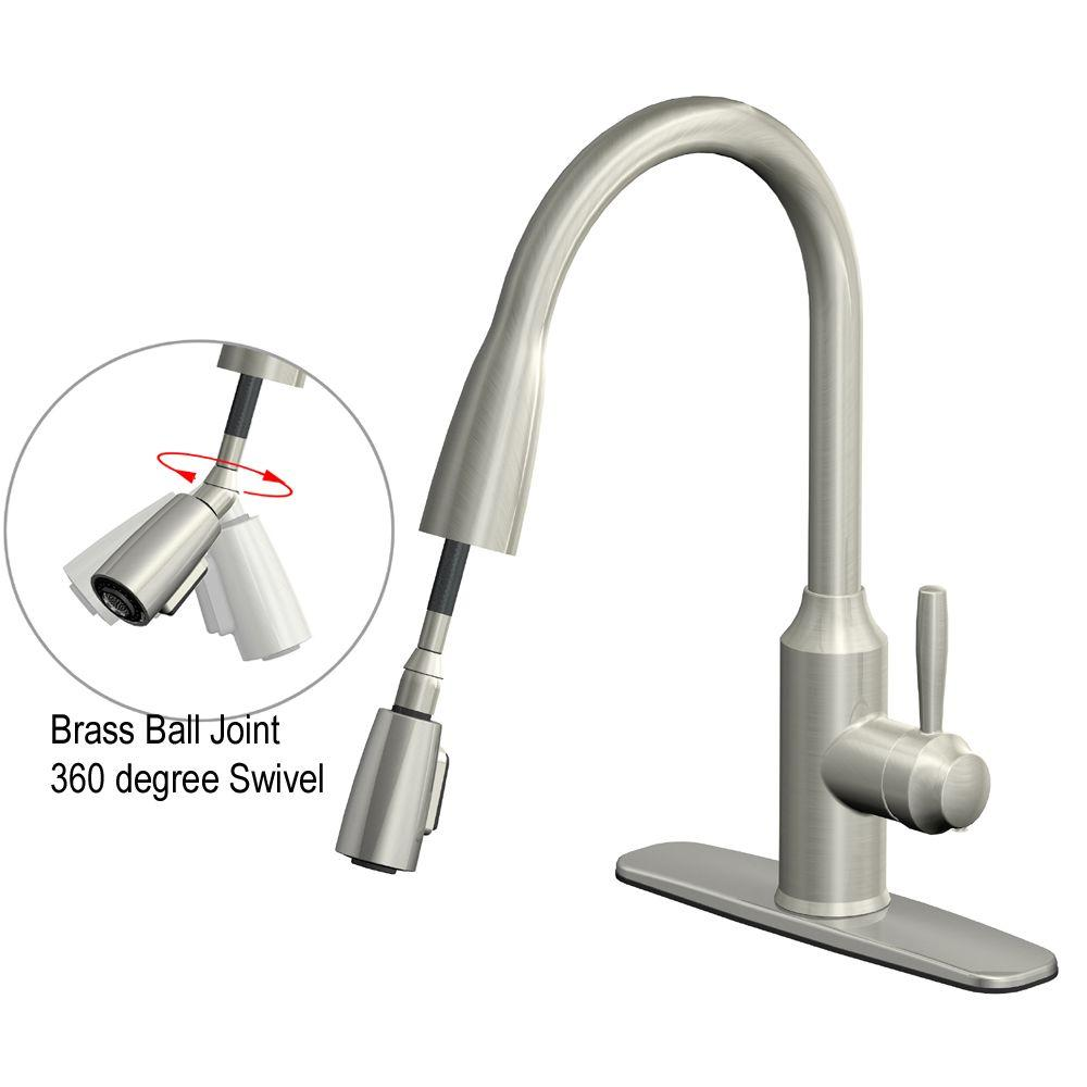 Glacier Bay Builders Single Handle Kitchen Faucet In Stainless Steel : Glacier bay fp a ss invee in pulldown kitchen faucet stainless steel pppab avi depot much