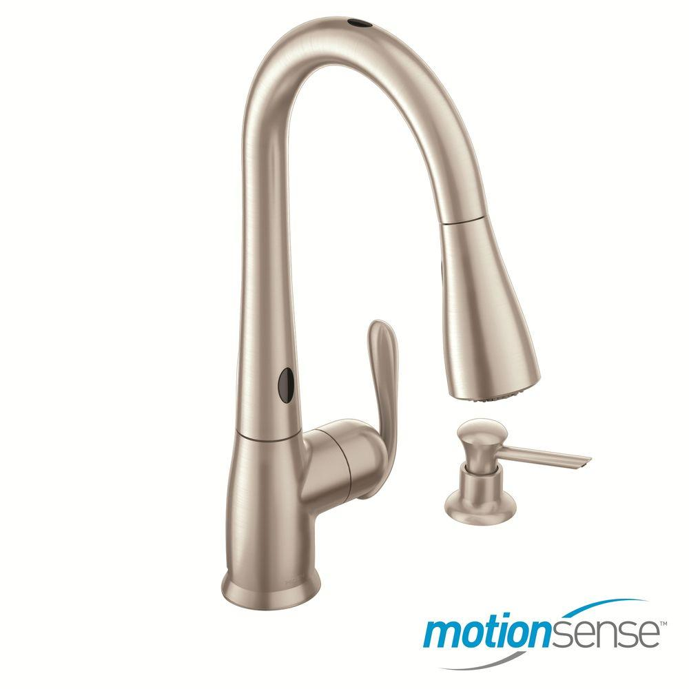 Moen 87350esrs Haysfield Pull Down Kitchen Faucet Motionsense In Stainless Pppa Avi Depot Much