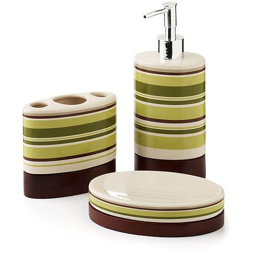 Hometrends galerie 3 piece bath accessories set ppp avi for Bathroom accessories home depot