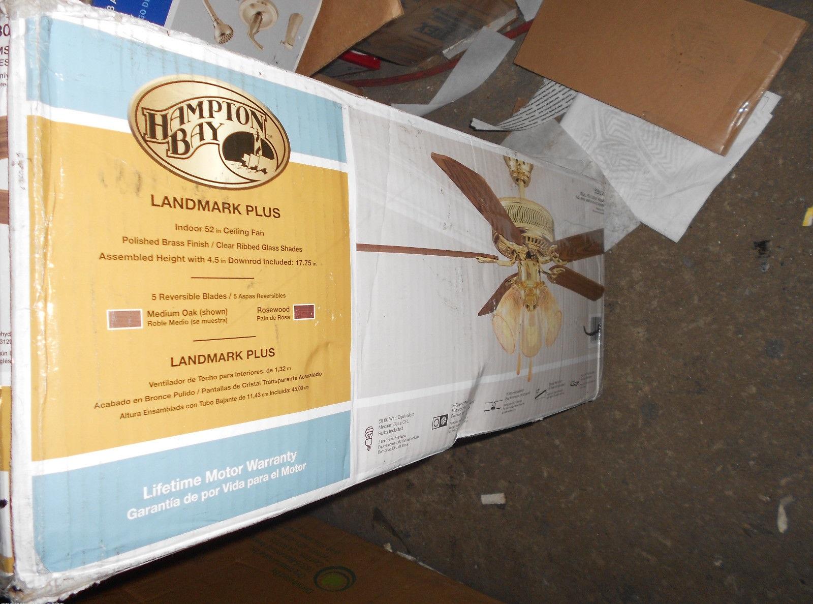 Hampton Bay Hl52qv P 3lc14 Landmark Plus 52 In Indoor Polished Brass Ceiling Fan Pppzae Avi