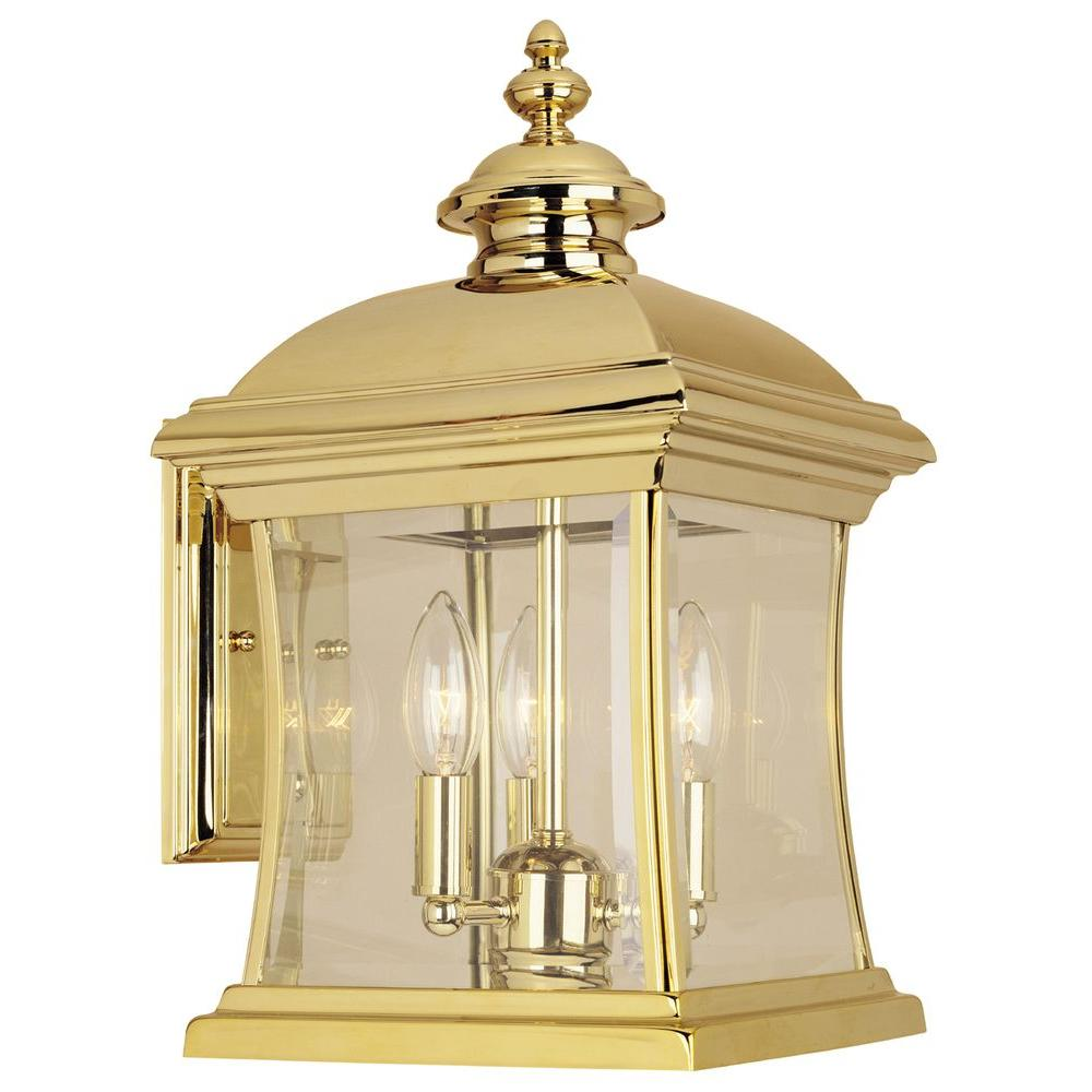 Hampton Bay Wall Mount 3 Light Outdoor Polished Brass Lantern Pppa Avi Depot Much More Value