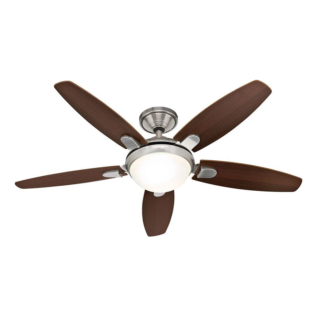 hunter 25816 contempo 52 in brushed nickel ceiling fan with remote. Black Bedroom Furniture Sets. Home Design Ideas