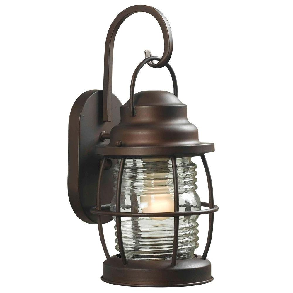 hampton bay hdp11987 harbor 1 light small outdoor copper wall lantern pppa avi depot much more