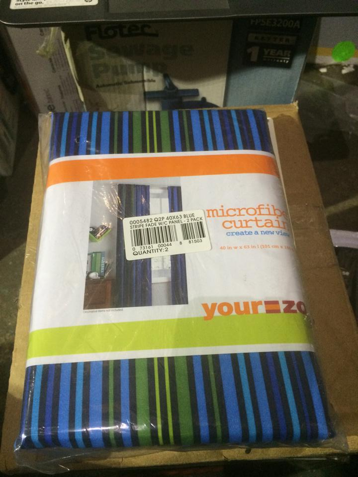 set of 2 Your Zone Printed Microfiber Window Curtains Blue Stripe