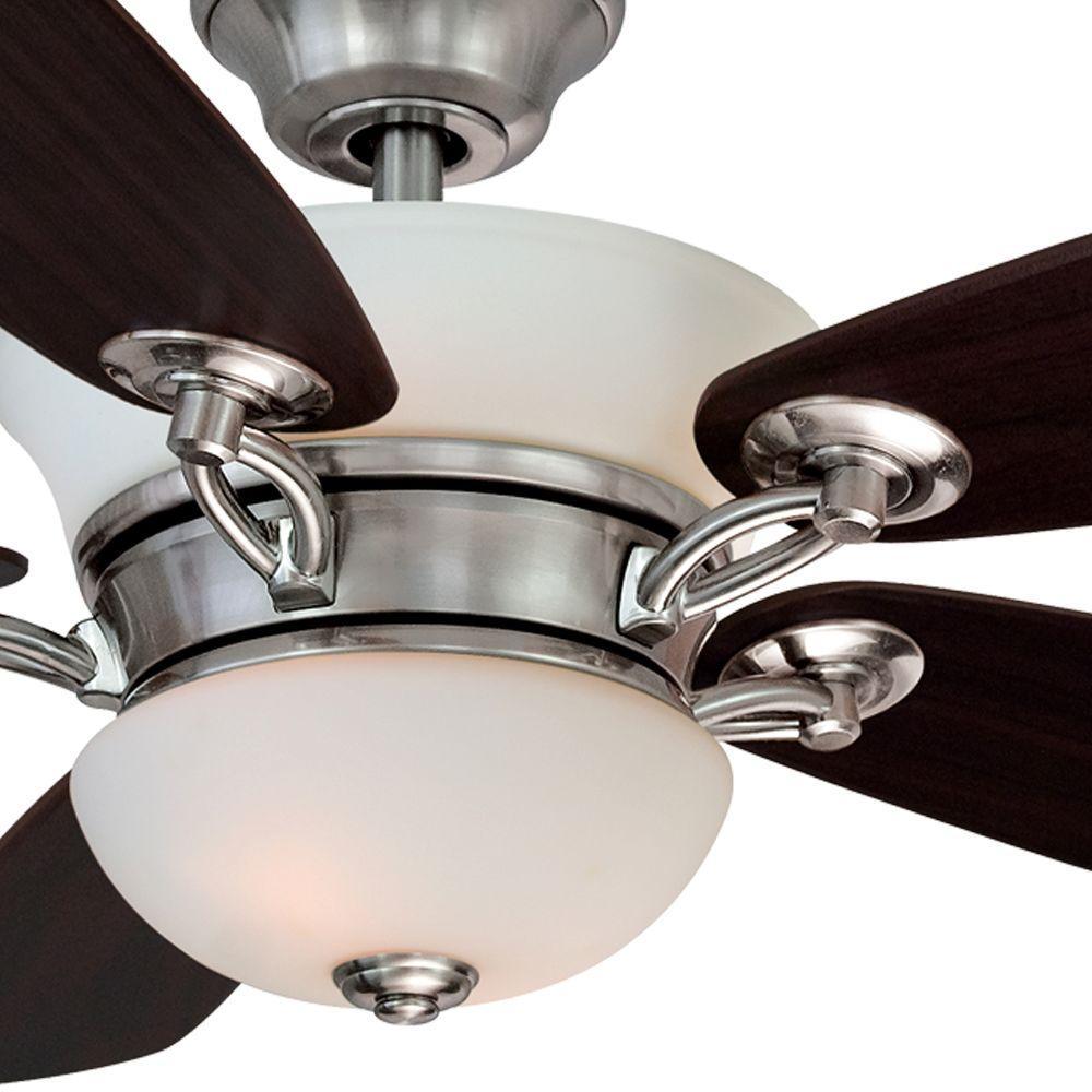 Hampton Bay Minorca 52 In Indoor Brushed Nickel Ceiling Fan With Light Kit P