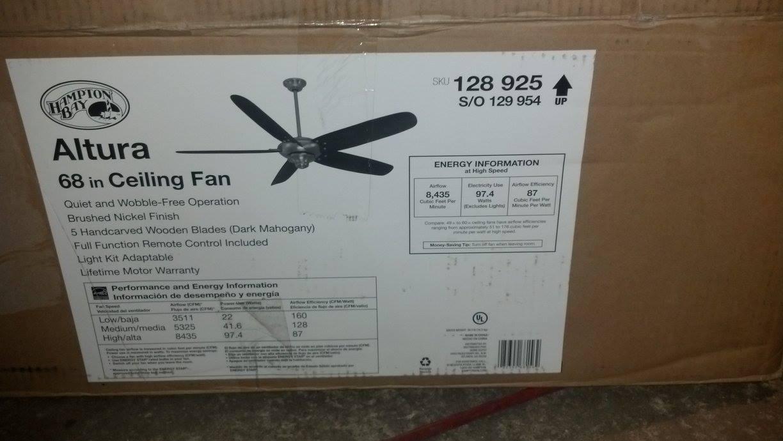 Hampton Bay 68156 Altura 68 In Indoor Brushed Nickel Ceiling Fan PPPWAE Avi