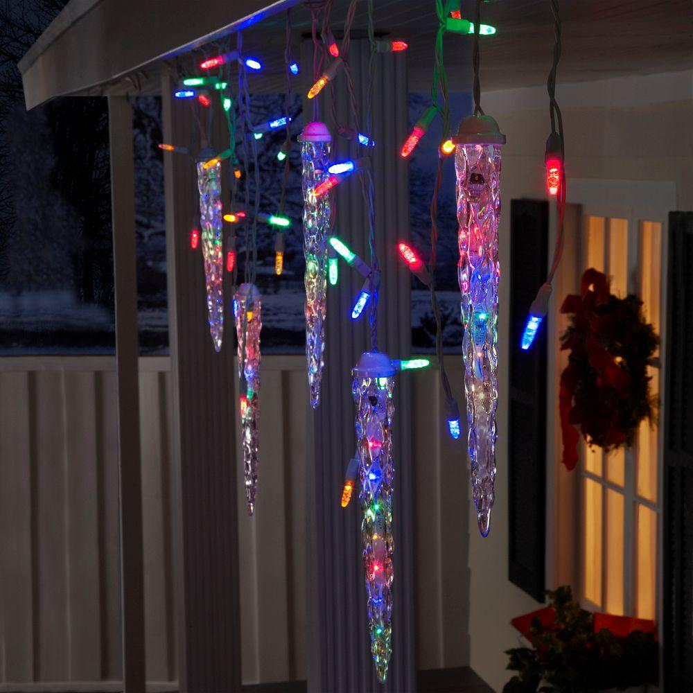led falling star icicle lights gemmy christmas lightshow shooting star multi led 5 icicle